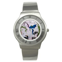 Wonderful Blue Parrot In A Fantasy World Stainless Steel Watch by FantasyWorld7