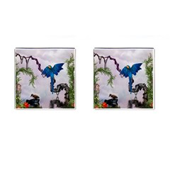 Wonderful Blue Parrot In A Fantasy World Cufflinks (square) by FantasyWorld7
