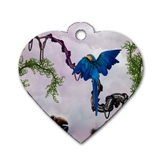 Wonderful Blue Parrot In A Fantasy World Dog Tag Heart (two Sides) by FantasyWorld7