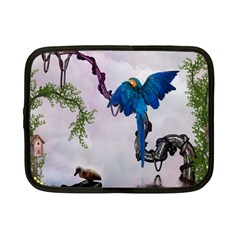 Wonderful Blue Parrot In A Fantasy World Netbook Case (small)  by FantasyWorld7