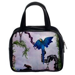Wonderful Blue Parrot In A Fantasy World Classic Handbags (2 Sides) by FantasyWorld7