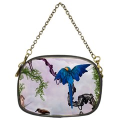 Wonderful Blue Parrot In A Fantasy World Chain Purses (one Side)  by FantasyWorld7