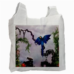 Wonderful Blue Parrot In A Fantasy World Recycle Bag (two Side)  by FantasyWorld7