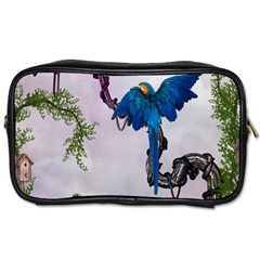 Wonderful Blue Parrot In A Fantasy World Toiletries Bags by FantasyWorld7