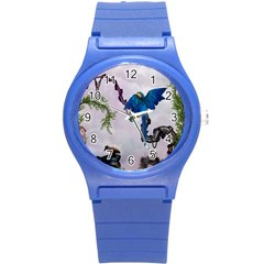 Wonderful Blue Parrot In A Fantasy World Round Plastic Sport Watch (s) by FantasyWorld7