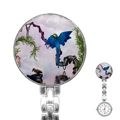 Wonderful Blue Parrot In A Fantasy World Stainless Steel Nurses Watch by FantasyWorld7