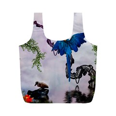 Wonderful Blue Parrot In A Fantasy World Full Print Recycle Bags (m)  by FantasyWorld7