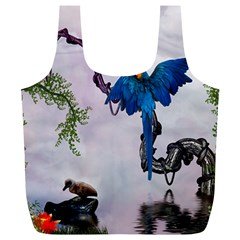 Wonderful Blue Parrot In A Fantasy World Full Print Recycle Bags (l)  by FantasyWorld7