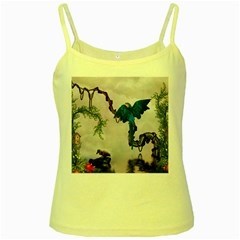 Wonderful Blue Parrot In A Fantasy World Yellow Spaghetti Tank by FantasyWorld7