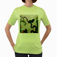 Wonderful Blue Parrot In A Fantasy World Women s Green T-shirt by FantasyWorld7