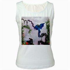 Wonderful Blue Parrot In A Fantasy World Women s White Tank Top by FantasyWorld7