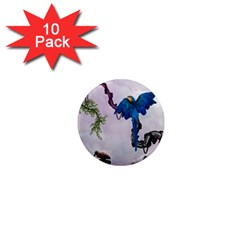 Wonderful Blue Parrot In A Fantasy World 1  Mini Magnet (10 Pack)  by FantasyWorld7