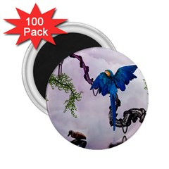 Wonderful Blue Parrot In A Fantasy World 2 25  Magnets (100 Pack)  by FantasyWorld7