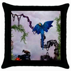 Wonderful Blue Parrot In A Fantasy World Throw Pillow Case (black) by FantasyWorld7