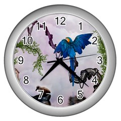 Wonderful Blue Parrot In A Fantasy World Wall Clocks (silver)  by FantasyWorld7