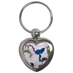 Wonderful Blue Parrot In A Fantasy World Key Chains (heart)  by FantasyWorld7