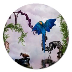 Wonderful Blue Parrot In A Fantasy World Magnet 5  (round) by FantasyWorld7