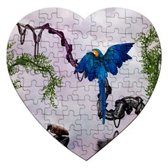 Wonderful Blue Parrot In A Fantasy World Jigsaw Puzzle (heart) by FantasyWorld7