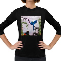 Wonderful Blue Parrot In A Fantasy World Women s Long Sleeve Dark T Shirts by FantasyWorld7