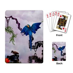Wonderful Blue Parrot In A Fantasy World Playing Card by FantasyWorld7