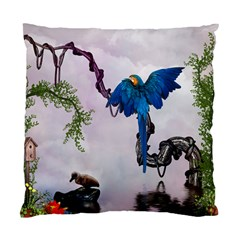Wonderful Blue Parrot In A Fantasy World Standard Cushion Case (one Side) by FantasyWorld7