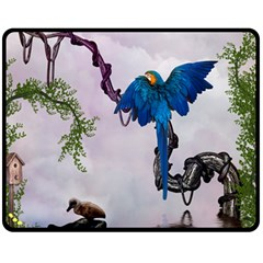 Wonderful Blue Parrot In A Fantasy World Fleece Blanket (medium)  by FantasyWorld7