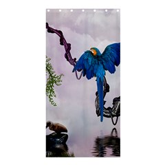 Wonderful Blue Parrot In A Fantasy World Shower Curtain 36  X 72  (stall)  by FantasyWorld7