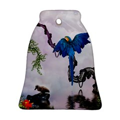 Wonderful Blue Parrot In A Fantasy World Bell Ornament (two Sides) by FantasyWorld7