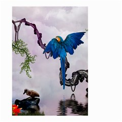 Wonderful Blue Parrot In A Fantasy World Small Garden Flag (two Sides) by FantasyWorld7