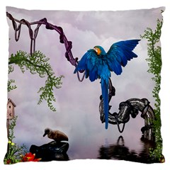 Wonderful Blue Parrot In A Fantasy World Large Cushion Case (two Sides) by FantasyWorld7
