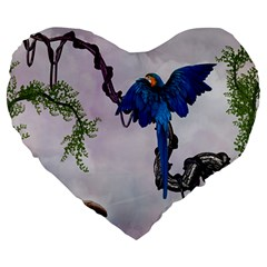 Wonderful Blue Parrot In A Fantasy World Large 19  Premium Heart Shape Cushions by FantasyWorld7