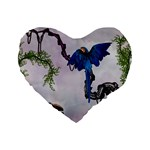 Wonderful Blue Parrot In A Fantasy World Standard 16  Premium Flano Heart Shape Cushions Front