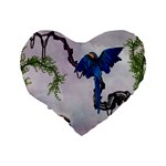 Wonderful Blue Parrot In A Fantasy World Standard 16  Premium Flano Heart Shape Cushions Back