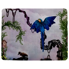 Wonderful Blue Parrot In A Fantasy World Jigsaw Puzzle Photo Stand (rectangular) by FantasyWorld7