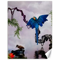 Wonderful Blue Parrot In A Fantasy World Canvas 18  X 24   by FantasyWorld7