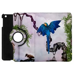 Wonderful Blue Parrot In A Fantasy World Apple Ipad Mini Flip 360 Case by FantasyWorld7