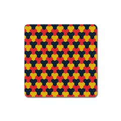 Red Blue Yellow Shapes Pattern        			magnet (square) by LalyLauraFLM