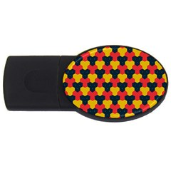 Red Blue Yellow Shapes Pattern        			usb Flash Drive Oval (4 Gb)