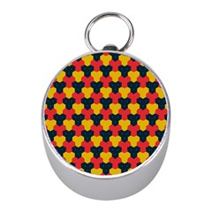 Red Blue Yellow Shapes Pattern        			silver Compass (mini) by LalyLauraFLM