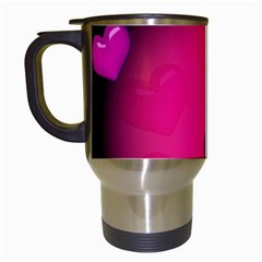 Pink Hearth Background Wallpaper Texture Travel Mugs (white) by Nexatart