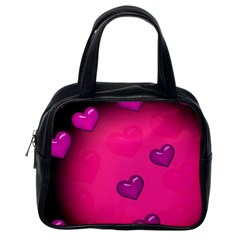 Pink Hearth Background Wallpaper Texture Classic Handbags (one Side)