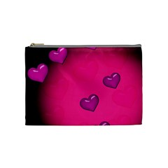 Pink Hearth Background Wallpaper Texture Cosmetic Bag (medium)  by Nexatart