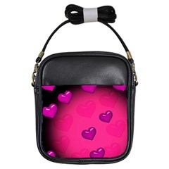 Pink Hearth Background Wallpaper Texture Girls Sling Bags by Nexatart