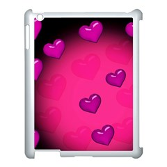 Pink Hearth Background Wallpaper Texture Apple Ipad 3/4 Case (white) by Nexatart