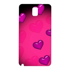 Pink Hearth Background Wallpaper Texture Samsung Galaxy Note 3 N9005 Hardshell Back Case by Nexatart