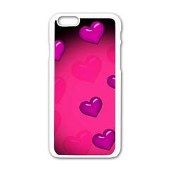 Pink Hearth Background Wallpaper Texture Apple Iphone 6/6s White Enamel Case