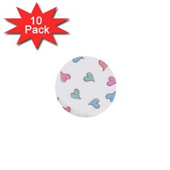 Colorful Random Hearts 1  Mini Buttons (10 Pack)  by Nexatart