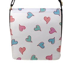 Colorful Random Hearts Flap Messenger Bag (l)  by Nexatart