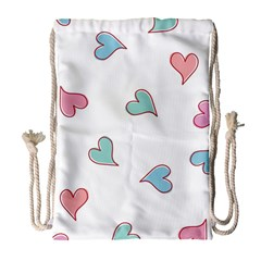 Colorful Random Hearts Drawstring Bag (large) by Nexatart