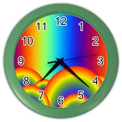 Background Rainbow Color Wall Clocks by Nexatart